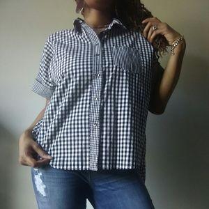 Madewell Checkered Black White Button Shirt